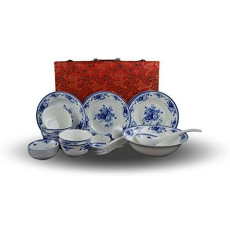 28-piece Bone China Blue and White Dinnerware Set, Service for 6, Rice Bowl Set, Jingdezhen, (Chinese Dragon Blue And White Rice Pattern)