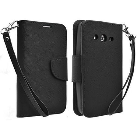promo code 14b86 29721 Samsung Galaxy Core Prime Wallet Case, Wrist Strap Flip [Kickstand] Pu  Leather Wallet Case with ID & Credit Card Slots - Black