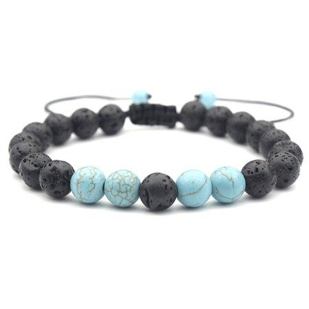 KABOER 8mm Couples Distance Bracelet Turquoise andamp; Black Lava Rock Braided Bracelet Yin Yang Beaded Bracelet Aromatherapy Essential Oil Diffuser Bracelet Friendship Bracelet