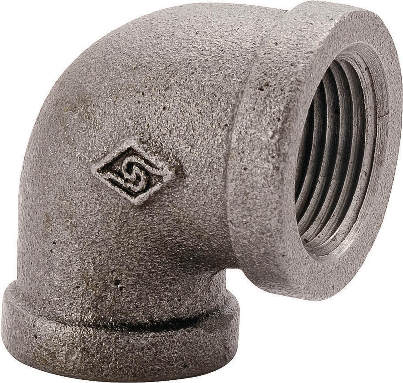 WORLDWIDE SOURCING 2A-2B Pipe Elbow 90 deg 2 in Threaded Malleable Iron