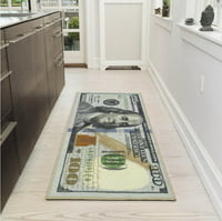 Ottomanson Siesta Collection 100 Dollar Bill Design Non-Slip Runner Rug