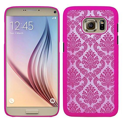 Ultra Slim Damask Vintage Case Cover compatile for Samsung Galaxy S6 Edge Plus Case - Hot Pink
