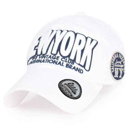 ililily - ililily Cotton   NEWYORK  Vintage Curved Hat Baseball Cap ... 4fec9edacebe
