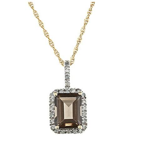 - 10k Yellow Gold Emerald-Cut Smoky Quartz and Diamond Halo Pendant Necklace
