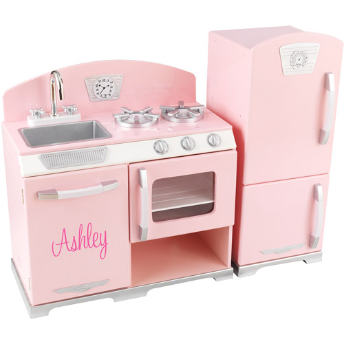 KidKraft - Personalized Retro Pink Play Kitchen, Pink Script Font Girl's Name, Ashley