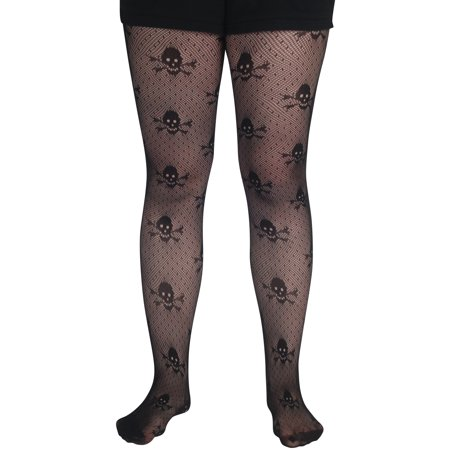Loftus Skull & Crossbones Gothic Pirate Pantyhose, Black, One Size