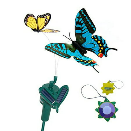 HQRP Pair of Solar Powered Flying Fluttering Butterflies Yellow Monarch and Blue Swallowtail for Garden Plants Flowers plus HQRP UV Chain