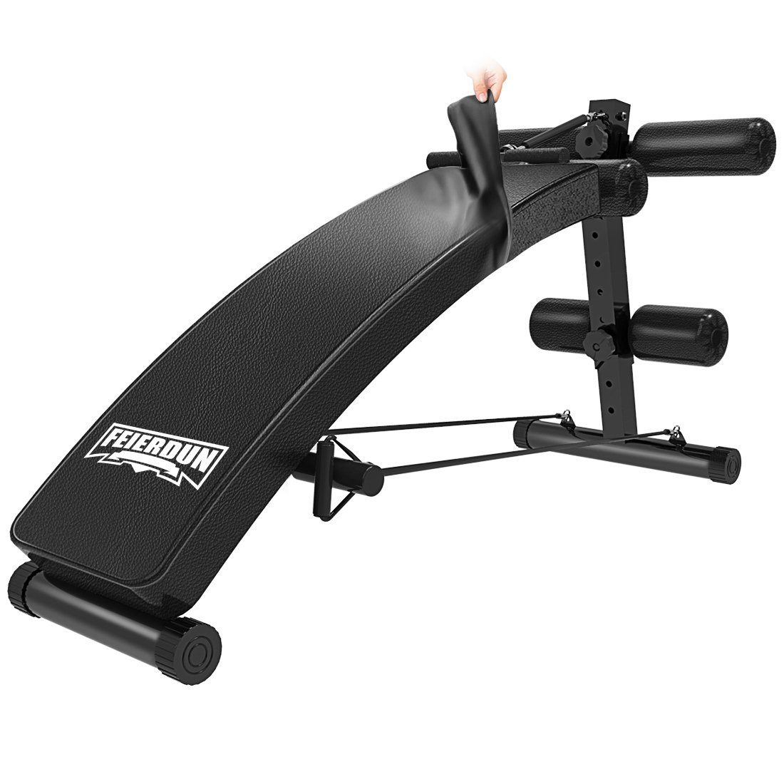 Sit Up AB Bench Incline Decline - FEIERDUN Adjustable Workout Sit-up Bench with Replaceable Leather Cover,Slant Crunch Board abs Benches