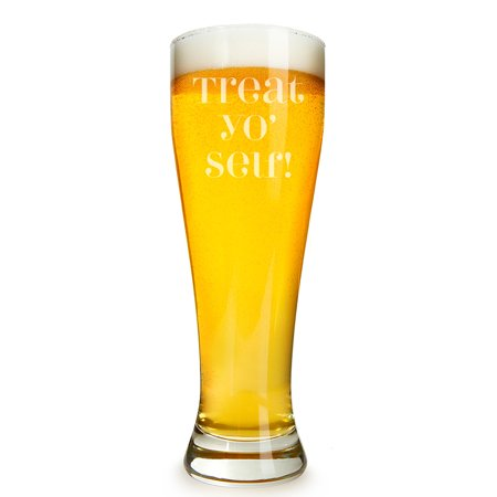 Treat Yo' Self Engraved 16 ounce Beer Glass Pilsner