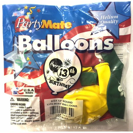 Happy 13th Birthday Balloons 8 Count