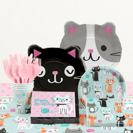 Purr Fect Cat Birthday Party Supplies Kit