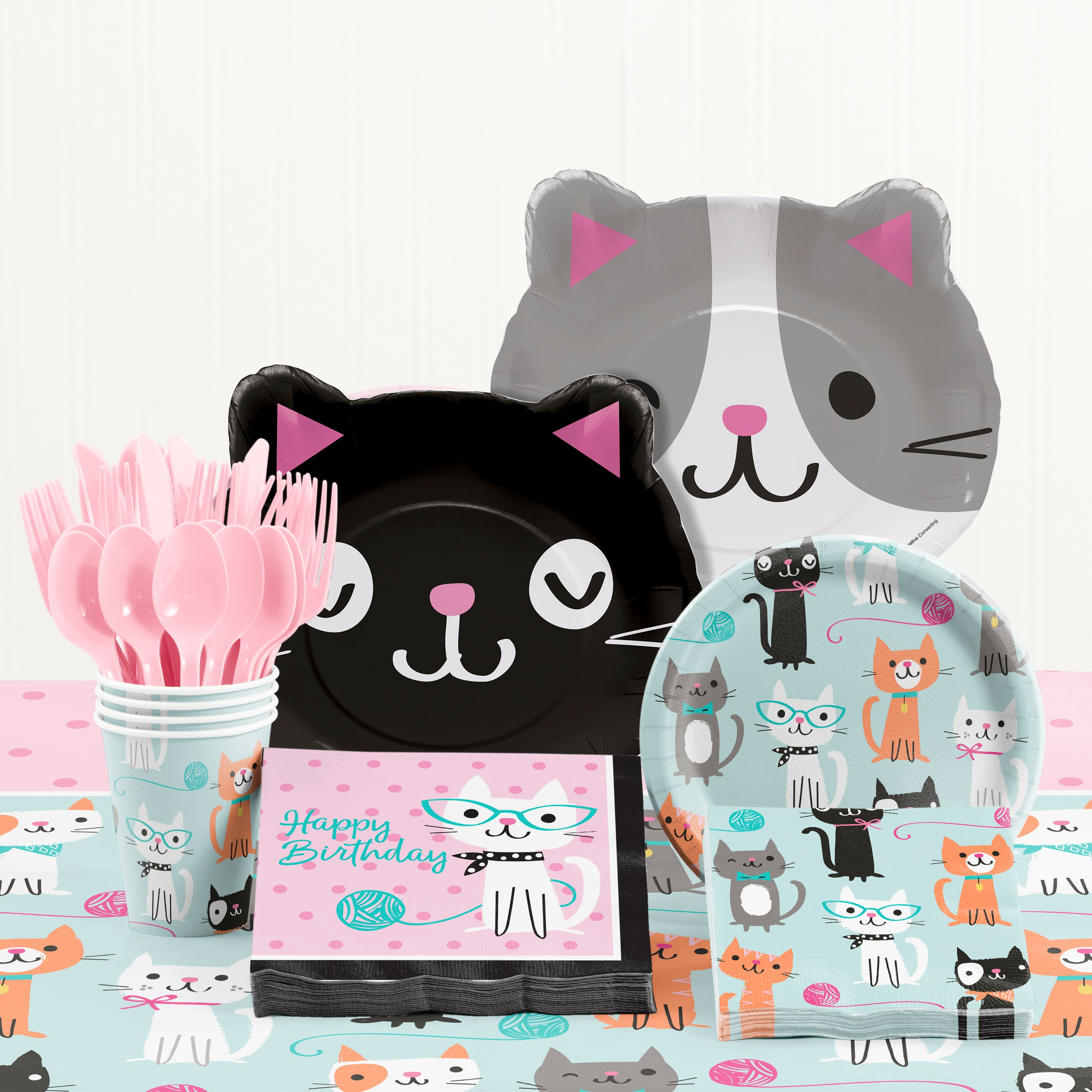 Purr-fect Cat Birthday Party Supplies Kit