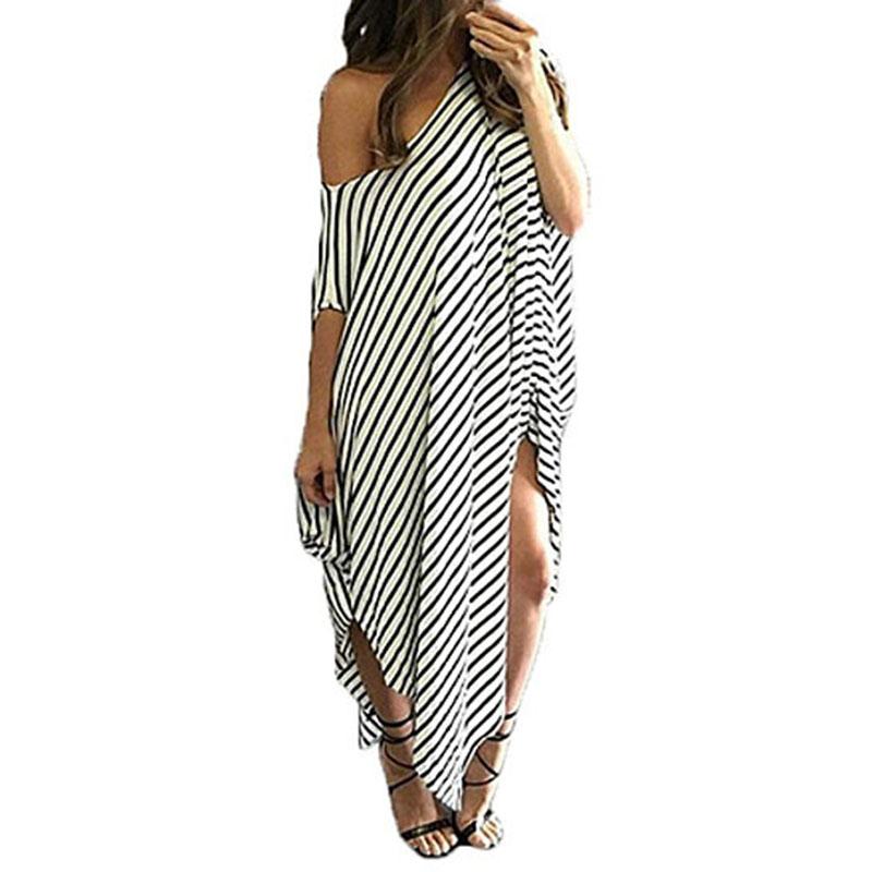 Womens Round Neck Striped Irregular Long Maxi Dress