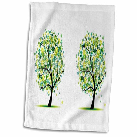3dRose 2 Lime Green and Aqua leaf Trees - Towel, 15 by 22-inch