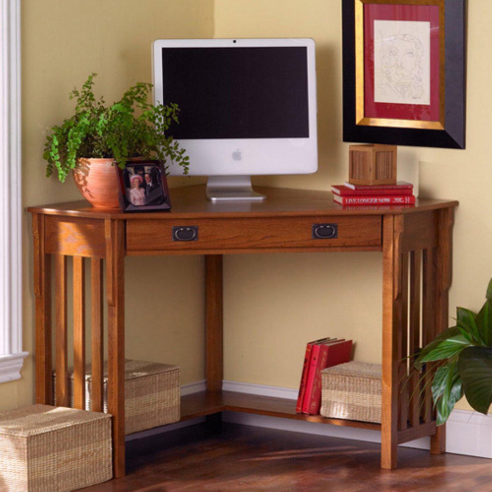 Southern Enterprises Mission Oak Corner Computer Desk
