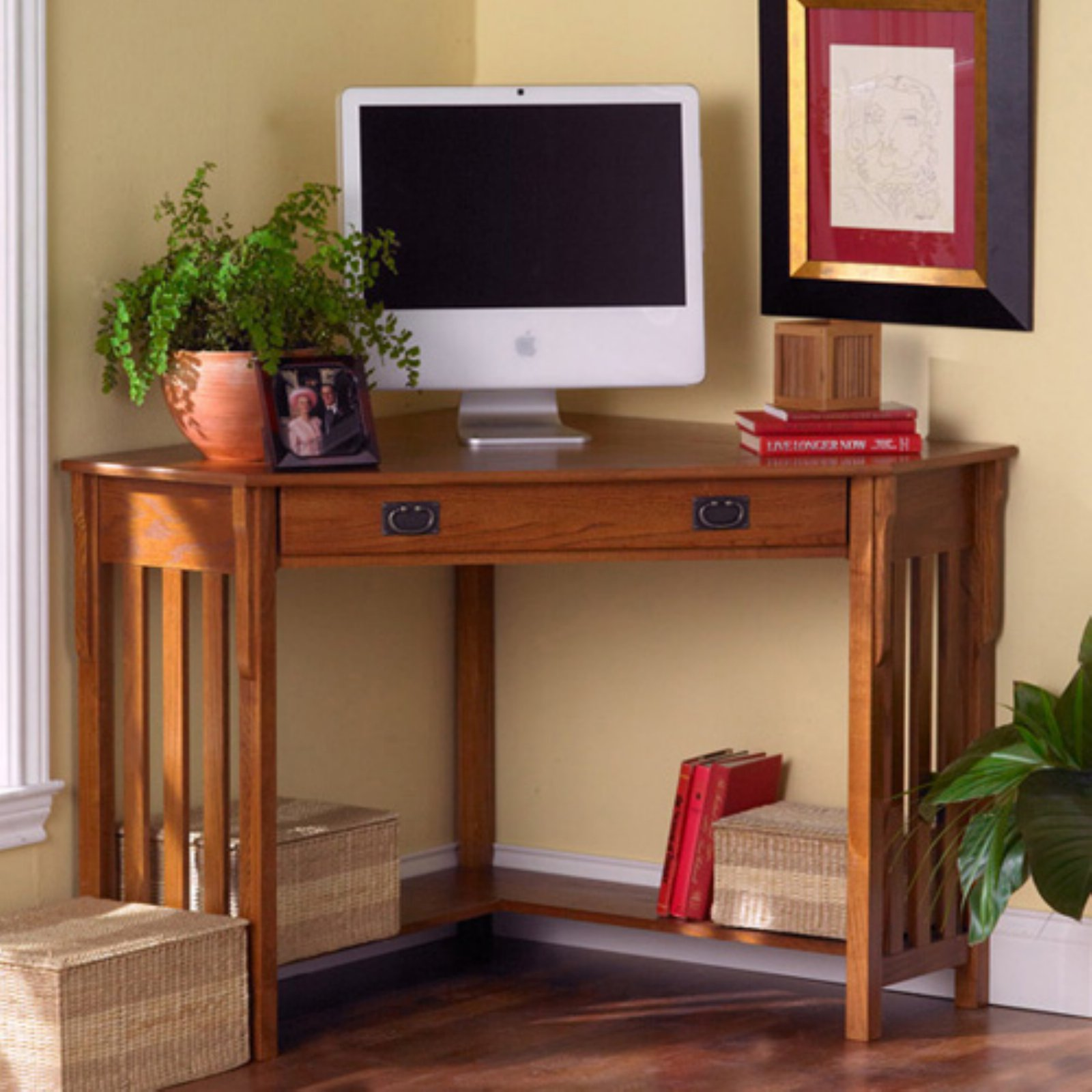 Southern Enterprises Mission Oak Corner Computer Desk