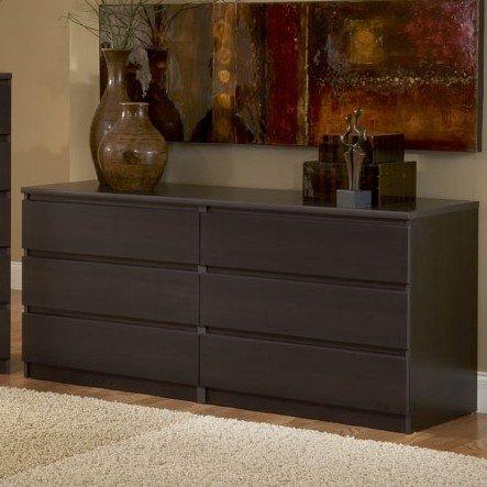 Modern Danish 6-drawer Long Dresser Brown Espresso Chocolate Wooden Wenge Bedroom Furniture (Discovery World Dresser)