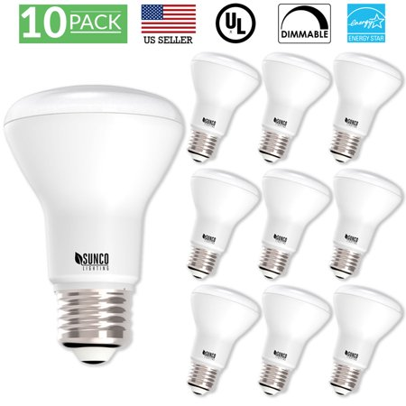 - Sunco Lighting 10 Pack BR20 LED Light Bulb 7 Watt (50 Equivalent) 2700K Kelvin Soft White 550 Lumens, 25,000 Hours, Flood, Dimmable, Indoor / Outdoor, Home, Office And More - UL & ENERGY STAR LISTED