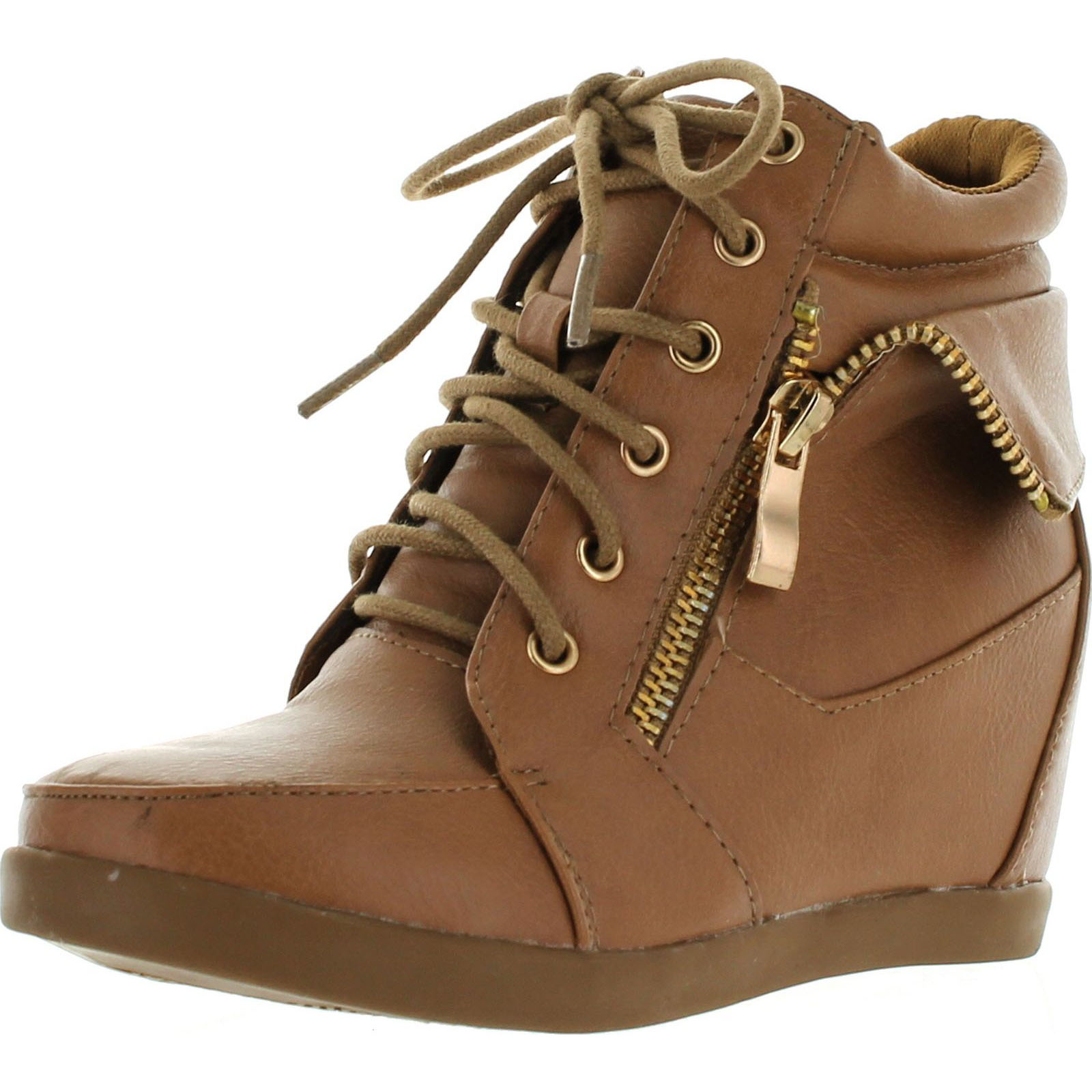 Peter-30K Kids Girls Leatherette Lace-Up High Top Wedge Fashion Sneaker Booties