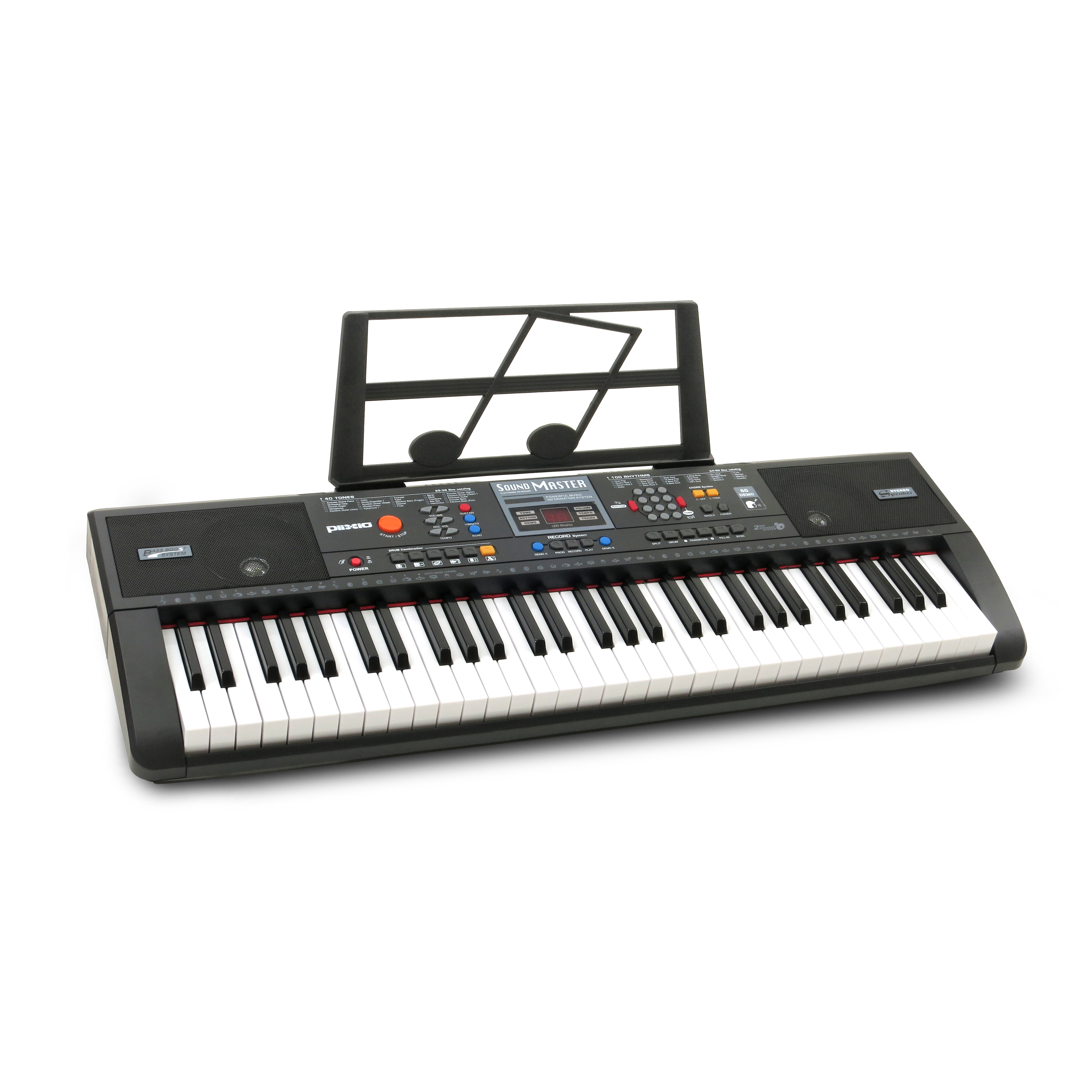 Plixio Piano Keyboard with 61 Keys and Music Sheet Stand – Portable Beginners Electric Keyboard