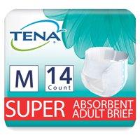 Tena Incontinence Briefs, Uni-Sex, Super Absorbency, Medium, 14 Count