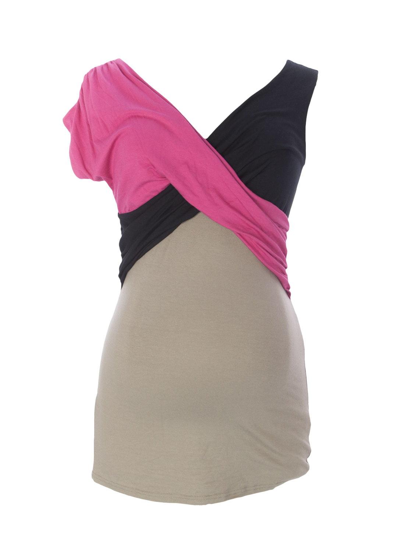 9FASHION Maternity Women's Morella Asymmetrical Blouse, Small, Cappuccino