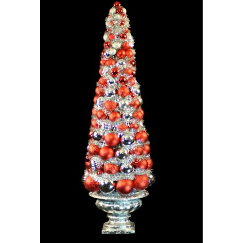 Christmas at Winterland WL-BTR-36.5-RE/SLV 3 Foot Red and Silver Ornament Christ