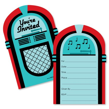 50's Sock Hop - Shaped Fill-In Invitations - 1950s Rock N Roll Party Invitation Cards with Envelopes - Set of - Party City Invitations