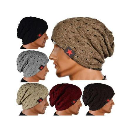 Winter Unisex Men Skull Chunky Women Knit Beanie Reversible Baggy Cap Warm Hat (Reversible Beanie Cap Hat)