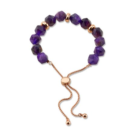Believe by Brilliance 14KT Gold Flash Plated Genuine Amethyst Bolo (Amethyst Gold Plated Bracelet)