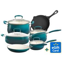 FREE $10 Walmart Gift Card with The Pioneer Woman Classic Belly 10 Piece Ceramic Nonstick Cookware Set
