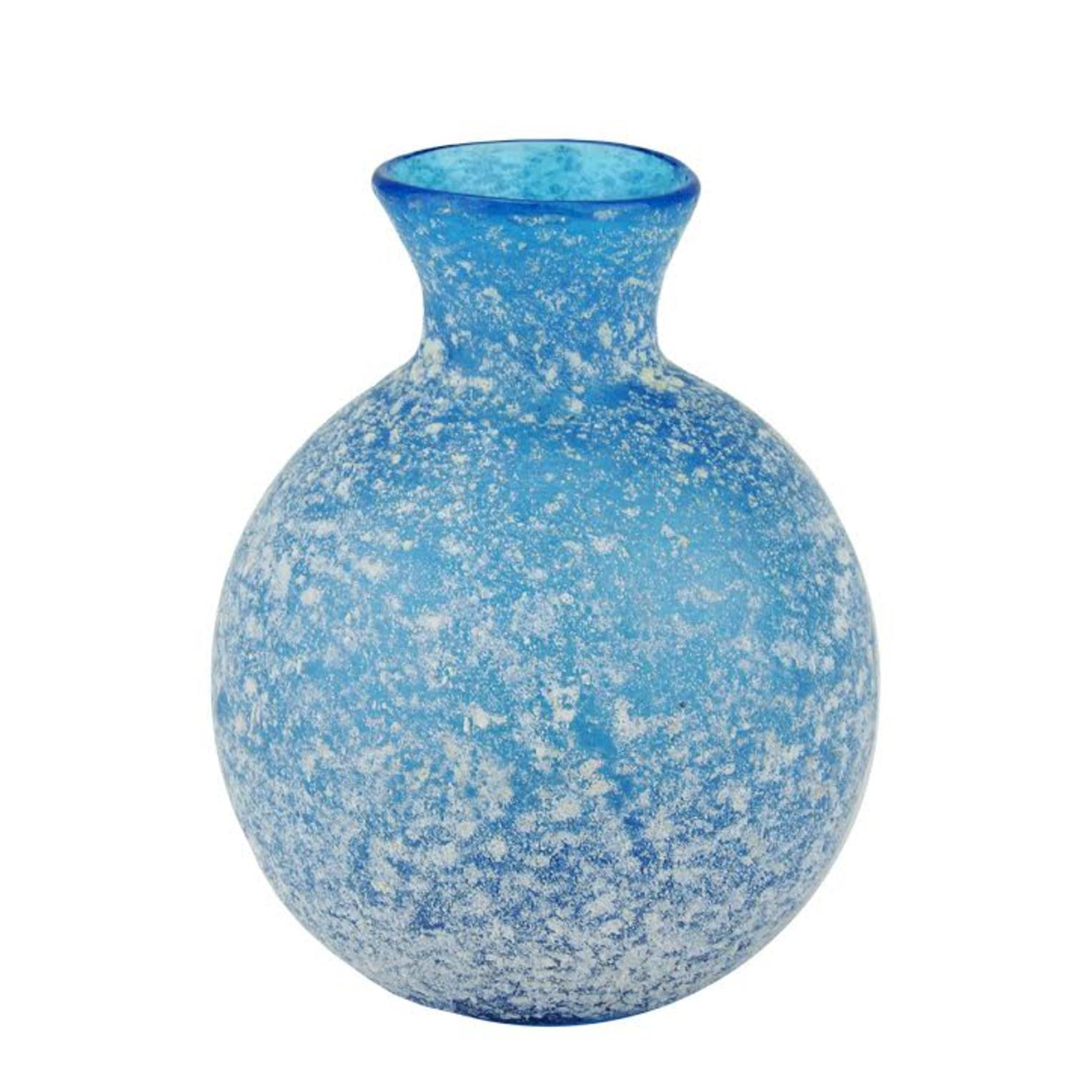 "4.25"" Botanic Beauty Decorative Blue and White Speckled Glass Vase"