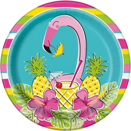 Hawaiian Luau 'Pineapples and Flamingos' Large Paper Plates (8ct)](Luau Party Plates)