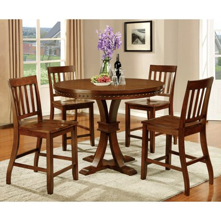 Furniture Of America Fort Wooden 5 Piece Counter Height Round Dining