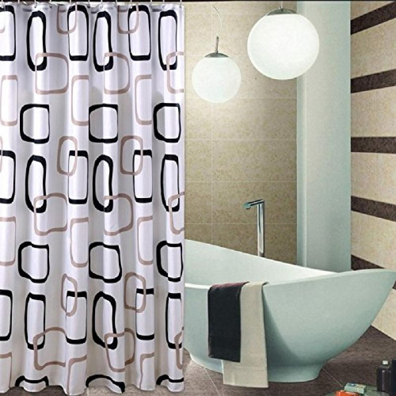 Welwo Shower Curtains, Square Circles_Rings Shower Curtain 96 X 78 Inches,  Black And White