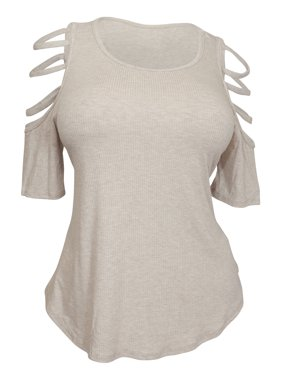 eVogues Plus Size Ribbed Cut Out Short Sleeve Top Taupe