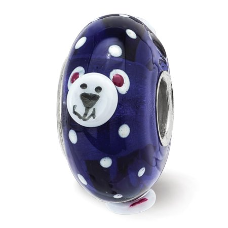 Solid 925 Sterling Silver Reflections Hand Painted Roly Polar Bear Fenton Glass Bead