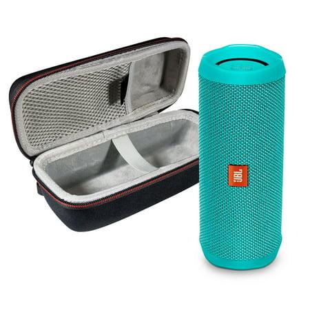 Foldable Portable Travel Speakers - JBL FLIP 4 Teal Kit Bluetooth Speaker & Portable Hardshell Travel Case