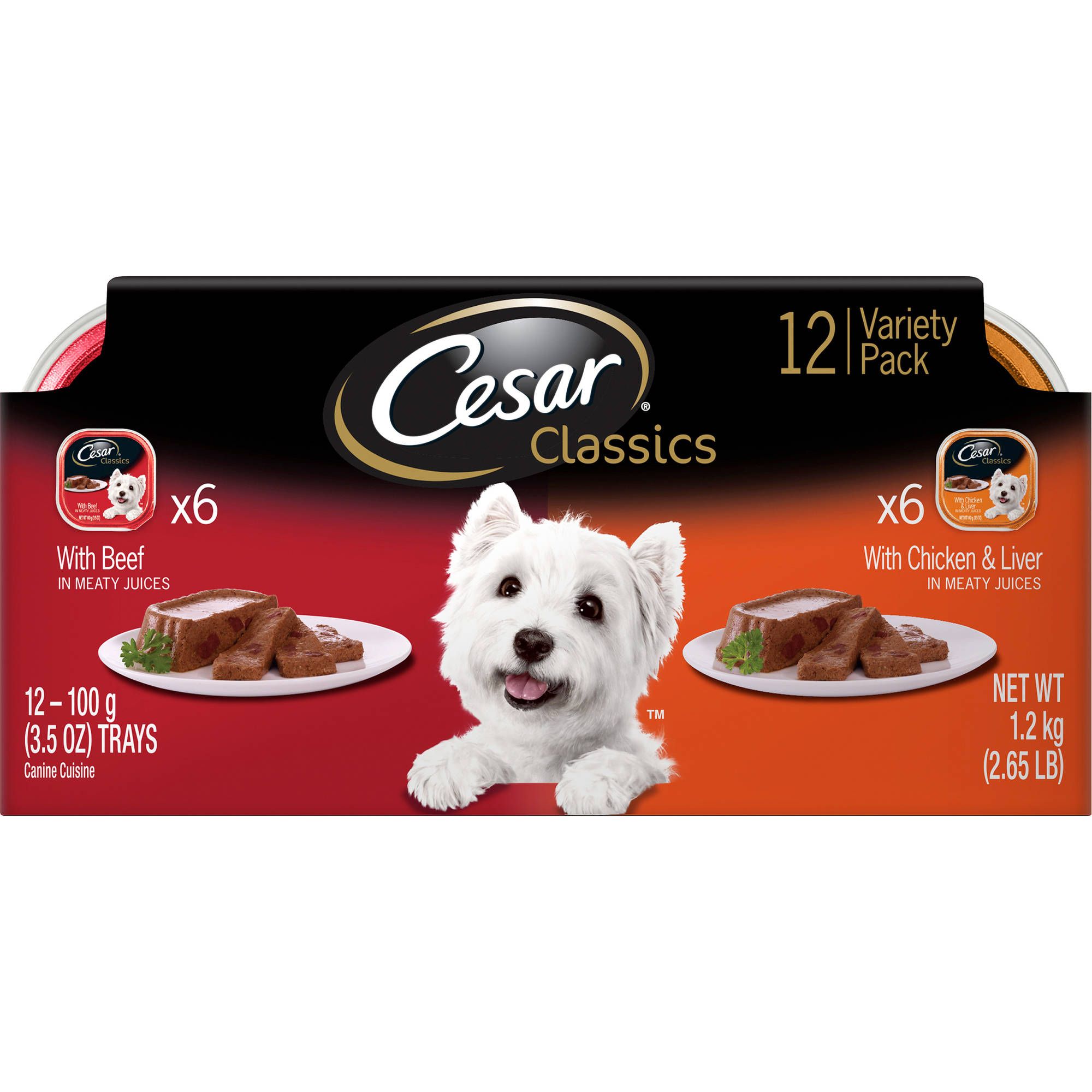 Cesar Classics With Beef and Chicken Liver, Dog Food Variety Pack, 2.65 lb Box
