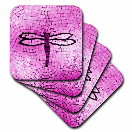 3dRose Hot Pink Mosaic Dragonfly, Soft Coasters, set of 4