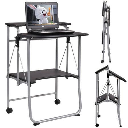 Costway Folding Computer Desk Laptop PC Table Workstation Study Writing Desk w/ 2 Wheels