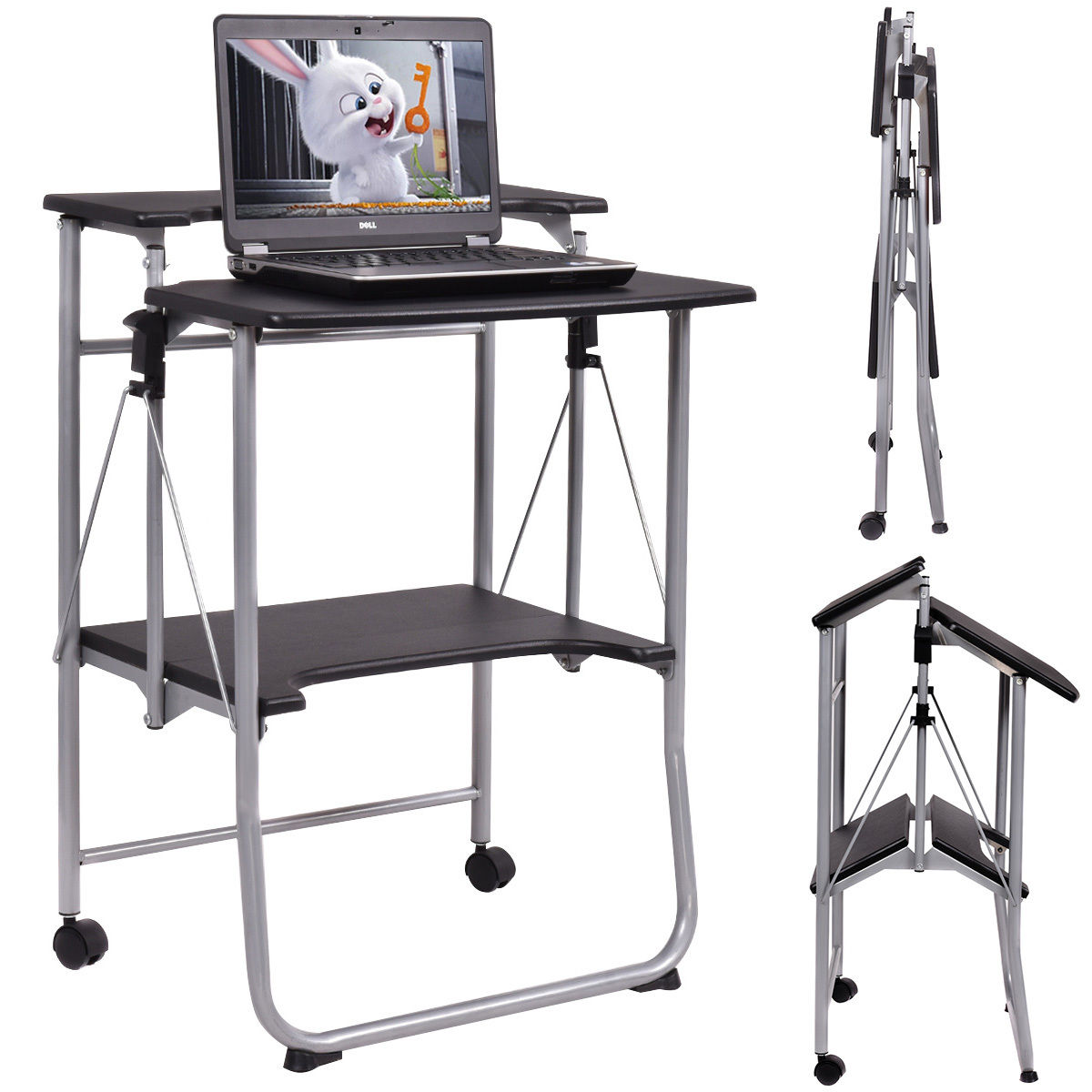 Costway Folding Computer Desk Laptop PC Table Workstation Study Writing Desk  W/ 2 Wheels