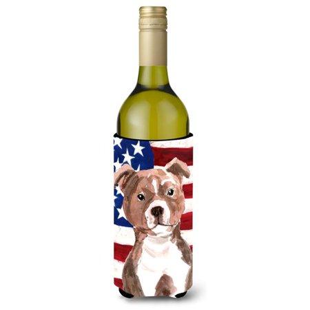 Red Staffie Bull Terrier Patriotic Wine Bottle Beverge Insulator Hugger - image 1 de 1
