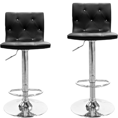 Best Master Furniture Tufted Vinyl Adjustable Height Swivel Bar Stool, Set of 2, Black with White Trim or Gray with White