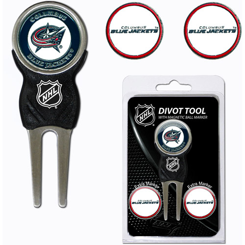 Team Golf NHL Columbus Blue Jackets Divot Tool Pack With 3 Golf Ball Markers