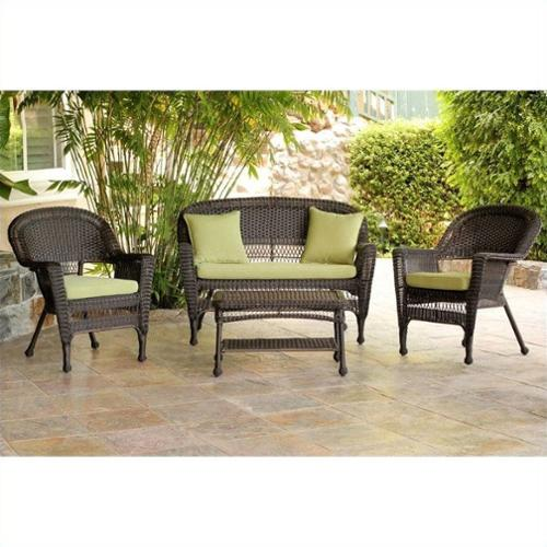 Jeco 4pc Wicker Conversation Set in Espresso with Green Cushions