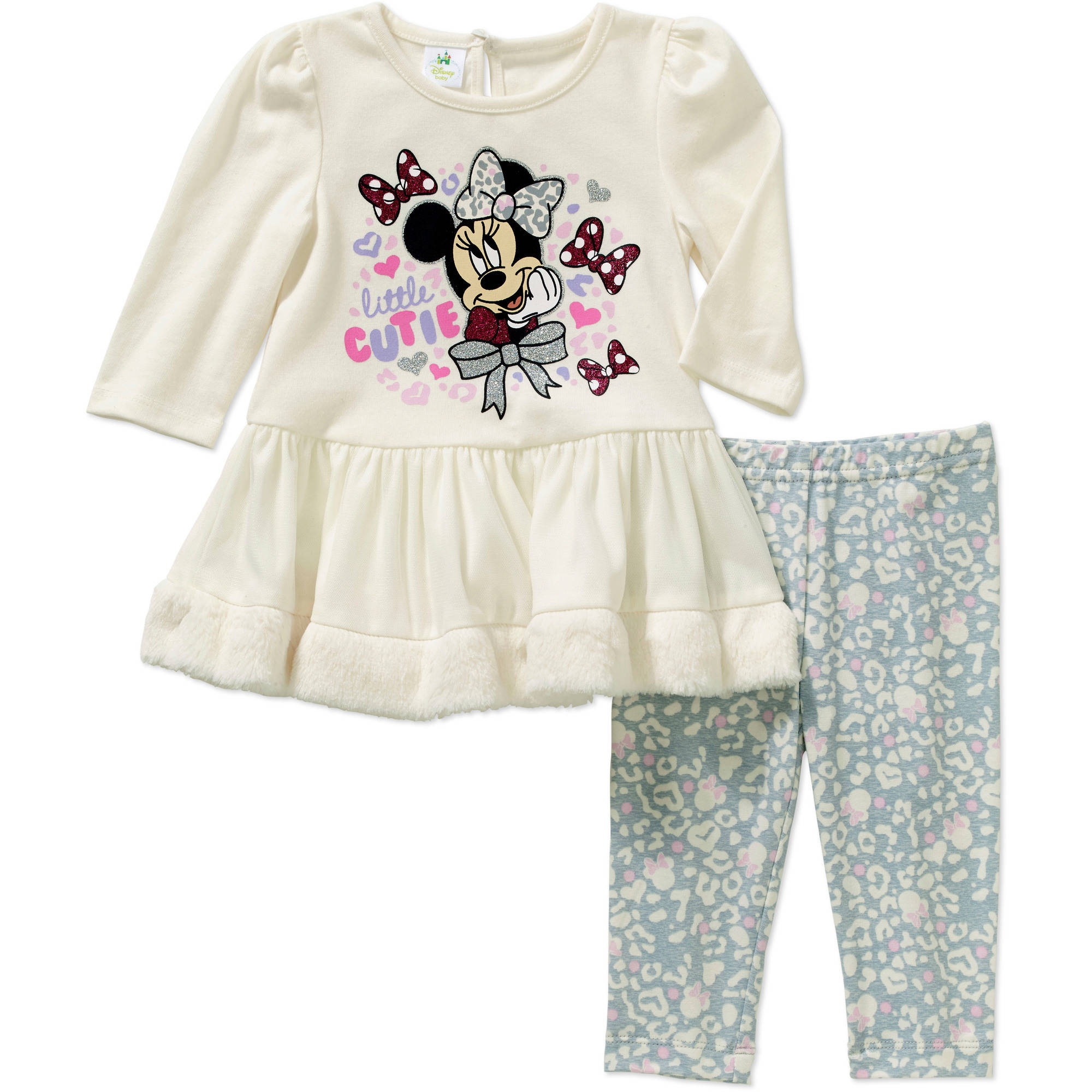 Minnie Mouse Newborn Baby Girl Skirted Tunic & Leggings Outfit Set