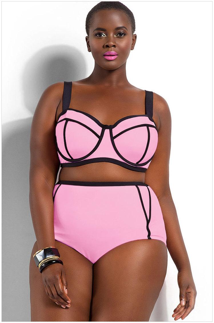 02aa697236006 Senfloco Women s High Waist Plus Size Swimwear 2-Piece Bikini Set ...