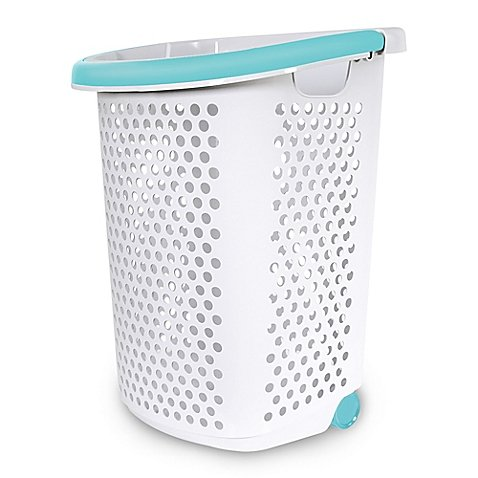 2.0-Bu. Rolling Hamper in White (1, White), Hole pattern on all sides for superior ventilation Pop-up handle Built-in wheels for easy mobility By Home Logic From USA