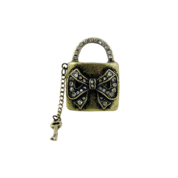 Bow Lock and Key Stretchy Ring Oversize by